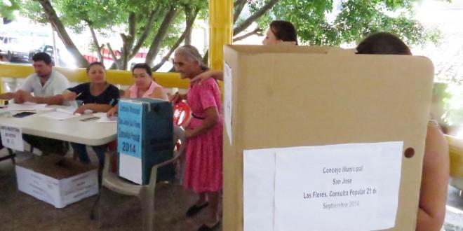 De 811 personas que acudieron a las urnas, un total de 803 habitantes dijeron NO a la exploración y explotación de minería metálica en el municipio de San José las Flores, Chalatenango. Foto Diario Co Latino/Cortesía
