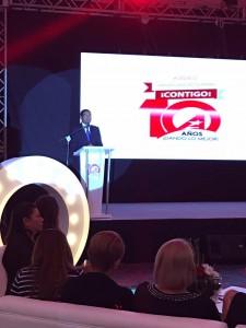 Jaime Recinos Vicepresidente de Alba Petróleos, ofrece las palabras durante la celebración de los diez años de fundación de la institución. Foto Diario Co Latino