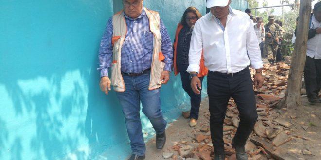 Vicepresidente constata daños ocasionados por el enjambre sísmico en San Miguel